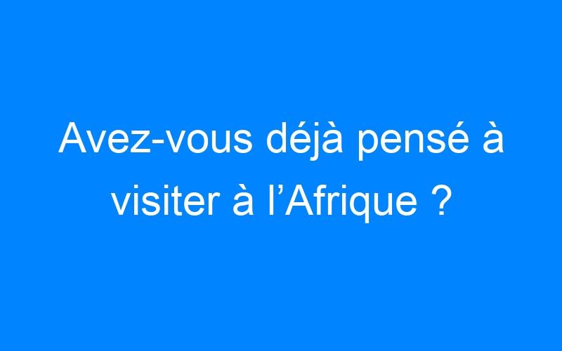 Avez-vous déjà pensé à visiter à l'Afrique ?